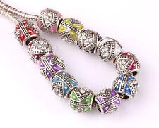 10pcs mix LAMPWORK CZ big hole spacer beads fit Charm European Bracelet #D596