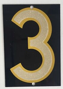 Vintage Black aluminum two sided 3-8 ADDRESS NUMBER ~ House Home (1) reflective