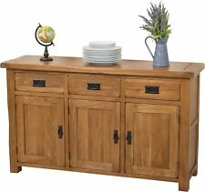 Cotswold Solid Oak Large Sideboard Cabinet 3 Door 3 Drawer Storage Unit Bedroom