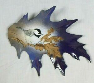 Vtg Norman Brumm Enamel On Copper Chickadee Bird On Leaf Shape Wall Art