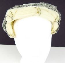 Vintage Women's Open Top Cream Church Hat With Netting and Highlights Union Made