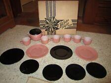 Old Hazel Atlas Child's Pink/Black Little Hostess Tea Set W/Original Box RARE!