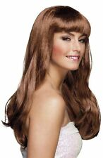 Womens Brown Long Wavy Wig with Fringe Fancy Dress Adults Hairpiece