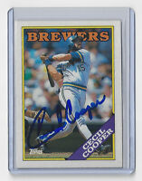 1988 BREWERS Cecil Cooper signed card Topps #769 AUTO Milwaukee Autographed