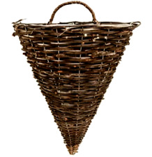 Rattan Hanging Wall Planter Plant Pot Basket Garden Flower Mounted Holder Cone