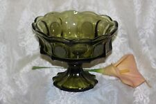 1969-81 Fostoria COIN Olive Green LARGE BOWL COMPOTE w Frosted Coins