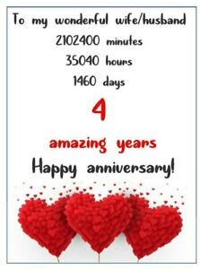 Romantic fourth 4th wedding anniversary Card for husband, wife, gift  love