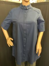 Parfois Bluse Hemdkleid Tunika Blau verdeckte Knopfleiste M Baumwolle Nylon 1A