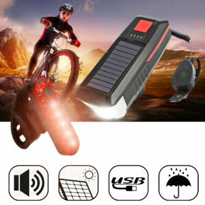 Solar Powered Light USB Rechargeable LED Bicycle Headlight Bike Front Lamp+Horn
