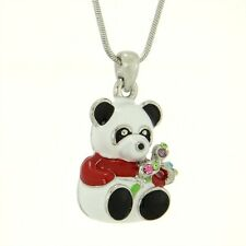 w Swarovski Crystal Red White Panda Bear Enamel 3D Pendant Necklace
