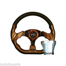 Club Car DS 1982-Up Golf Cart Woodgrain 12.5 Steering Wheel & Chrome Adapter Kit