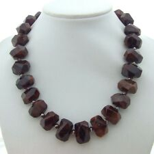 14x20mm natural Faceted Hessonite Nugget Crystal Necklace