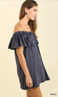 Umgee Women Mineral Washed Off Shoulder Dress with Pockets Size S INDIGO NWT