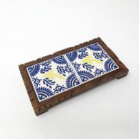 VINTAGE Tile Trivet DAL-TILE MEXICO  CARVED WOOD & CERAMIC Yellow Sparrow