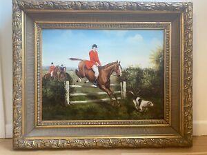 "Axel W. Larsen Original Oil ""Fox Hunt"" Painting"