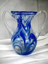 Vase Murano Glas Blumenvase mit 2 Henkel Farbeinschlüssen Blau Weiß Klar-Glas