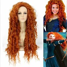 Pixar Animated Brave Merida Cosplay Wig Synthetic Orange Long Wavy wigs
