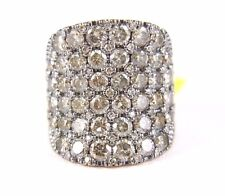 Fine 6 Row Wide Chocolate Cluster Diamond Cigar Ring Band 14k Rose Gold 5.58Ct