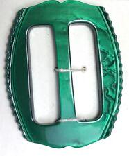 Glowing Emerald Green 1940s Casein 4.5cm Buckle