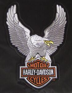"Harley Davidson Eagle Silver Patch XLarge 10.5"" X  7 3/4"""