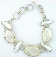 Handmade Freshwater Pearl & Natural Shell Sterling Silver 8 1/4 Inch Bracelet