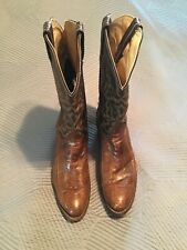 Vtg. Old Black Tag Tony Lama Brown Exotic Leather Cowboy Boots Sz 10 1/2 B Usa