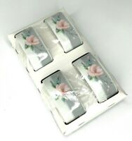 Vintage Set of 4 Himark Fine Porcelain Napkin Ring Pink Flowerl Japan NIB