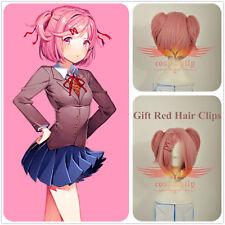 Doki Doki Literature Club Natsuki Adult Cosplay Pink Wig + Gift Red Hair Clips