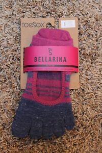 TOESOX Bellarina Full Toe Grip Non-Slip Small Atomic Blue Pink Stripe