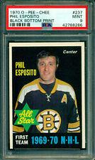1970 71 OPC #237 PHIL ESPOSITO BLACK BOTTOM PRINT POP 1 PSA 9 MINT