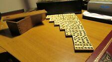 Jeu Ancien - Ancienne boite bois de très gros  Dominos Os et Ebène (5x2,3x0,9)