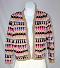 Talbots Purple Pink Blue Beige Geometric Cotton Cardigan Sweater - Size PS