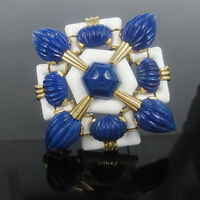 Rare David Webb Natural Lapis & Enamel 18K Gold Maltese Cross Pendant Brooch