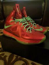 separation shoes e79f1 07ba7 NIKE LEBRON X 10 XMAS CHRISTMAS RUBY RED GREEN SZ.13 USED WORN 541100-