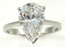 3 ct Pear Ring Vintage Brilliant Top Russian CZ Moissanite Simulant Size 9