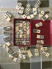 Vintage Double Nine Dominoes by Cardinal 55 Piece Set Red Case Dominos w/ case