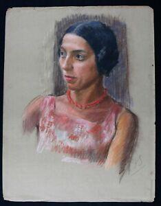 Young Femme Au Collier Circa 1930 Pastel 65 X 50 CM art deco Monogram Fashion
