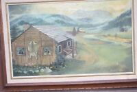Oil Painting Early Pioneer Ranch, Log Buildings and Mountains, by Barbara Rice