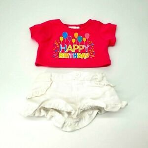 Build A Bear Happy Birthday Pink Shirt W/ White Jean Skirt Outfit Clothes Toy