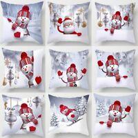 "18"" Christmas Snowman Cushion Cover 3D Pillow Case Sofa Throw Xmas Decorations"