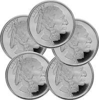 Lot of 5 - 1 oz Silver Republic Metals(RMC) Buffalo Round 999 Fine Silver