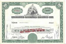 CONSOLIDATED ELECTRONICS INDUSTRIES CORP....1969 STOCK CERTIFICATE