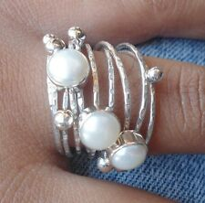 925 Sterling Silver-Balinese Elegant Style Mabe Pearl Ring Size 7 (Wy02)