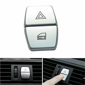 2* Car Warning Lamp Chrome ABS Shift Knobs Decor Cover Trim For BMW 5 Series F10