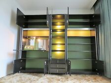 STYLISH RETRO MID CENTURY VINTAGE 70S BLACK ASH AND BRUSHED STEEL BOOKCASE