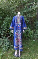 Vtg 60's Embroidered Cotton Caftan Maxi Dress Hippie Boho Blue Floral M NOS 70's