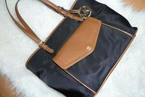 Michael Kors Tasche Jetset Shopper schwarz braun Nylon mit Anhänger