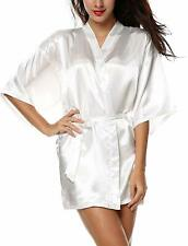 Women's XXL Lingerie Pure Color Satin Short Kimono Bridesmaids Robes Bathrobe