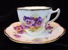 Vintage Rosina Teacup and Saucer - Purple Pansy Flower - Octagon/Swirl Cup