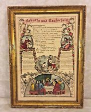 Antique Printed Birth & Baptism Certificate John Dietrich 1863 Berks County PA